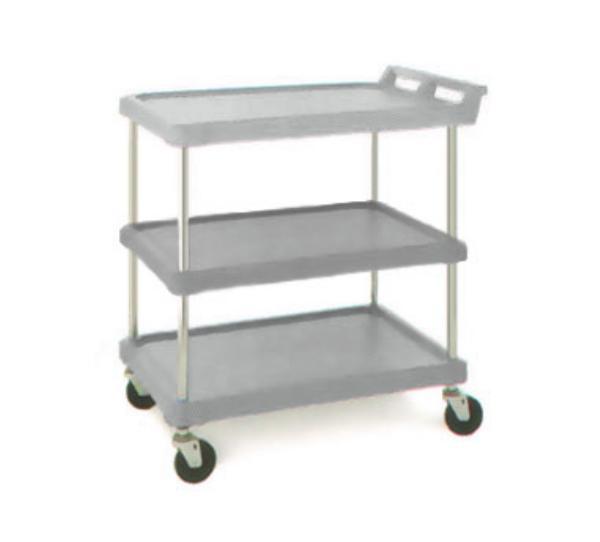Metro Foodservice BC203034G BC Series Utility Cart 3-Shelves Open Base Gray Restaurant Supply