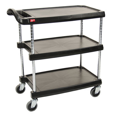 Metro MY2030-34BL Utility Cart - 3-Shelf, Open Base, 400-lb Capacity, Black