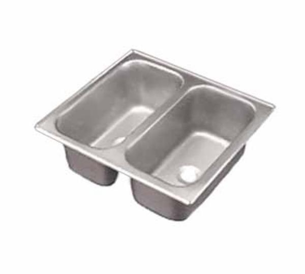 Polar Ware 12065-2 Yukon Vending Cart Drop In Sink, Dbl Bowl, 17 in x 13 in, 5 in D