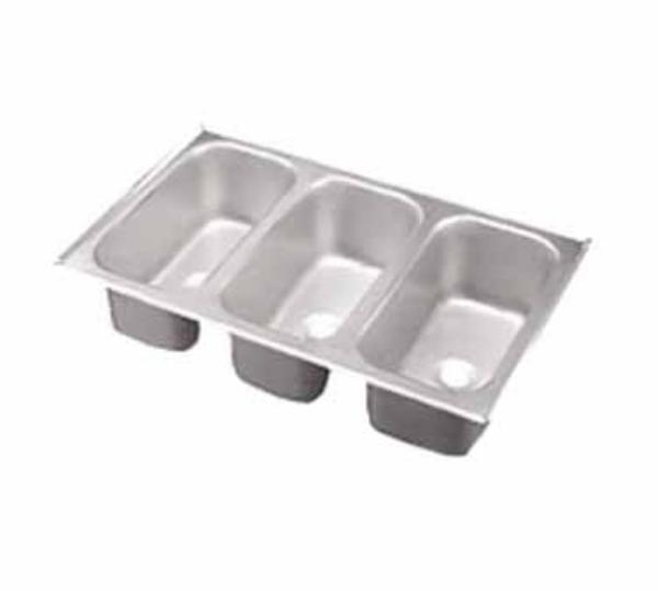 "Polar Ware 12065-3 Vending Cart Drop In Sink - (3)12.13"" x 6.13"" x 5"" Bowls, 22 Ga Stainless"