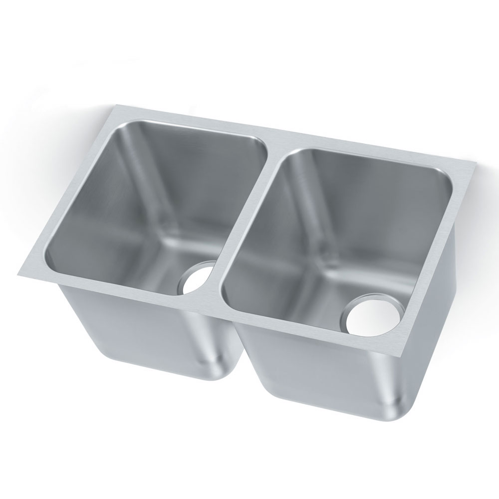 Polar Ware 12122-1R 2-Compartment Heavy Duty Stainless Drop-In Sink w/ Round Corners