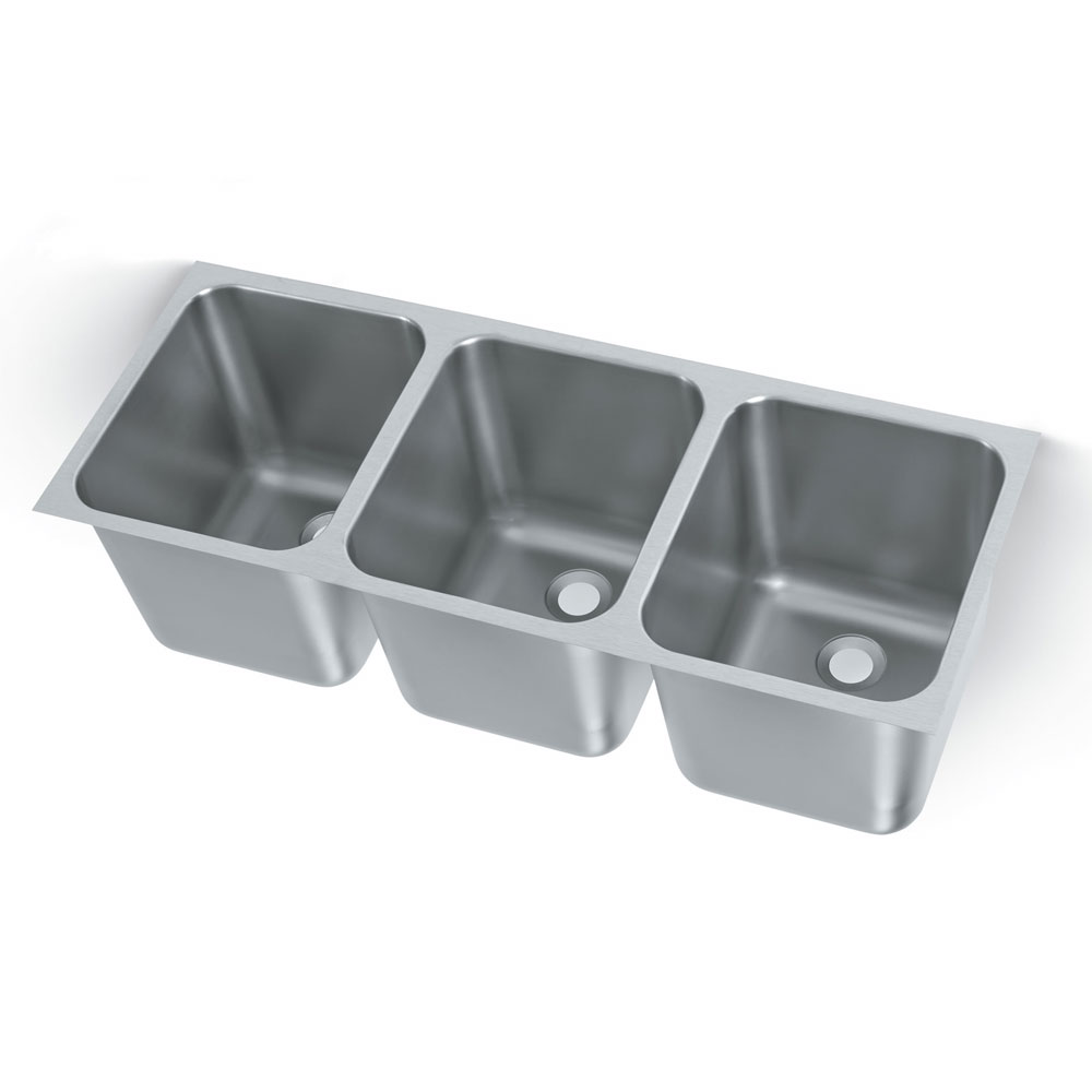Polar Ware 12123-2R 3-Compartment Heavy Duty Stainless Drop-In Sink w/ Round Corners, 2-in Drain