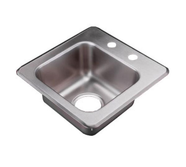 Polar Ware 155-4 Bar or Waitress Self-Rimming Drop-In Sink, 1 Compartment, Ledgeback