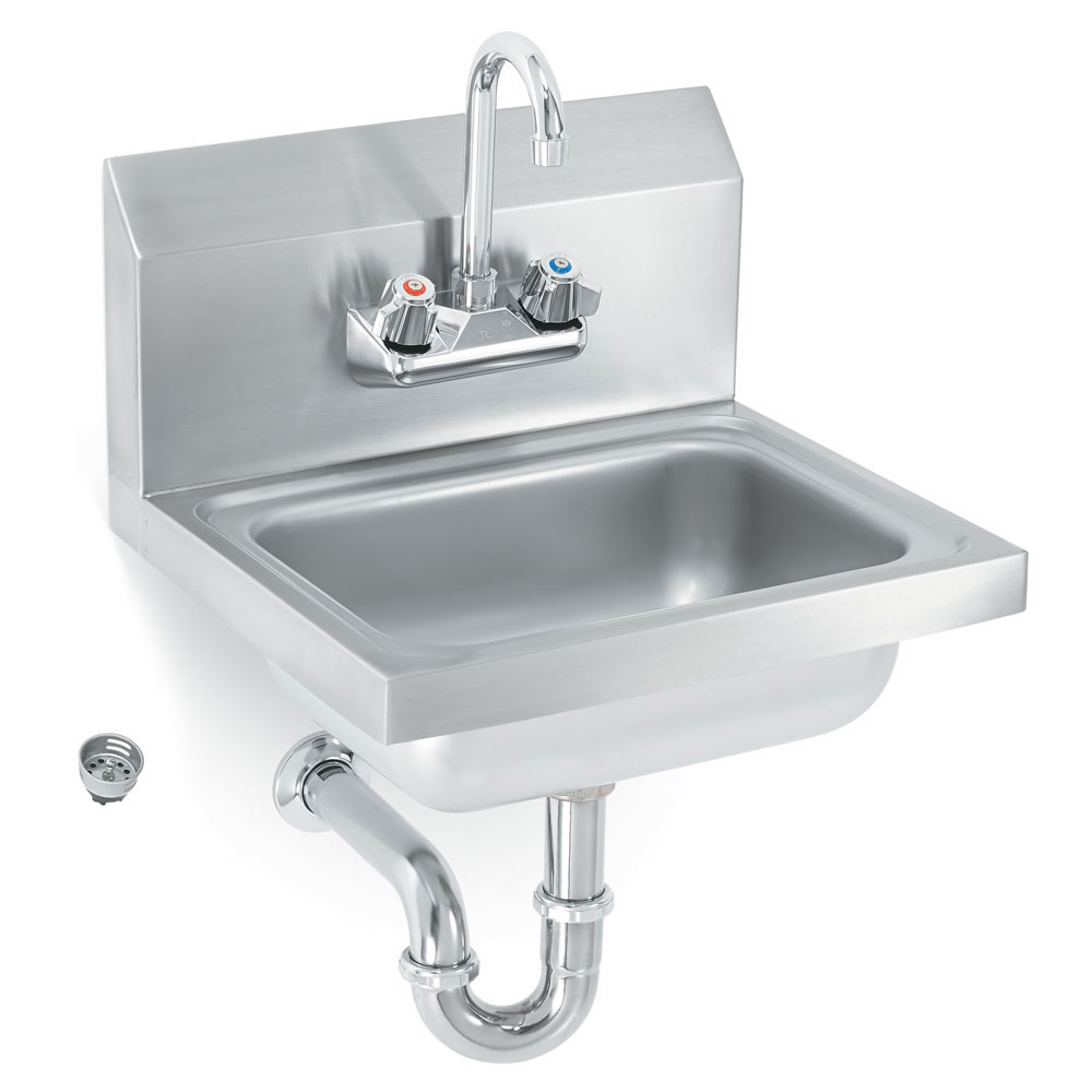 Polar Ware K1410CS Yukon Hand Sink, w/Gooseneck Faucet, Splash Guard Sides and Strainer