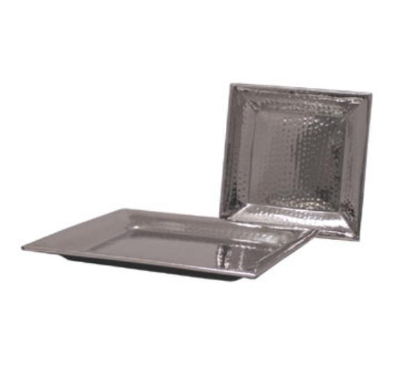 Polar Ware T8971B 16 in Square Hammered Tray, Stainless Steel