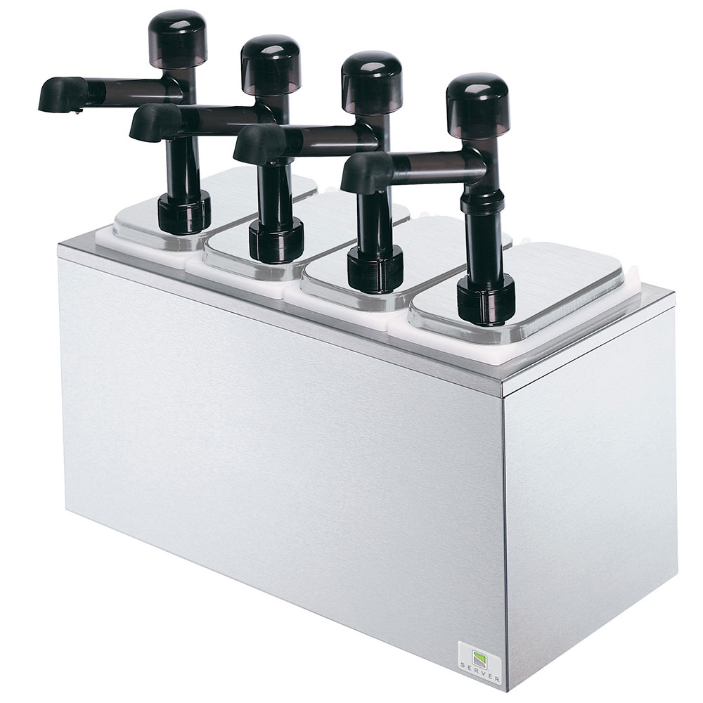 Server Products 79870 Server Solution Syrup Rail, Countertop, 4 Pumps & Pans, SS