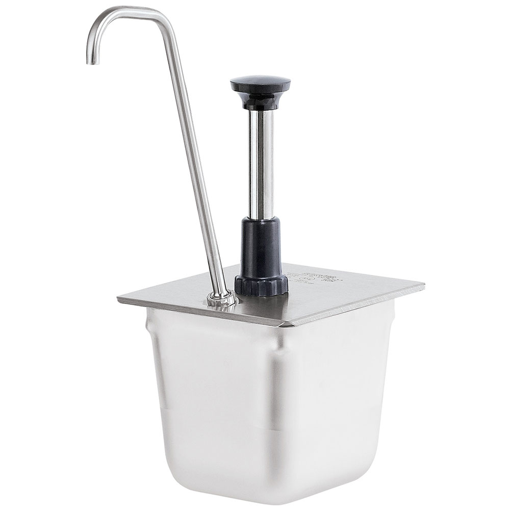Server Products 83433 Condiment Pump, Tall, SS, Uses 1/6 Steam Pan 6 in Deep