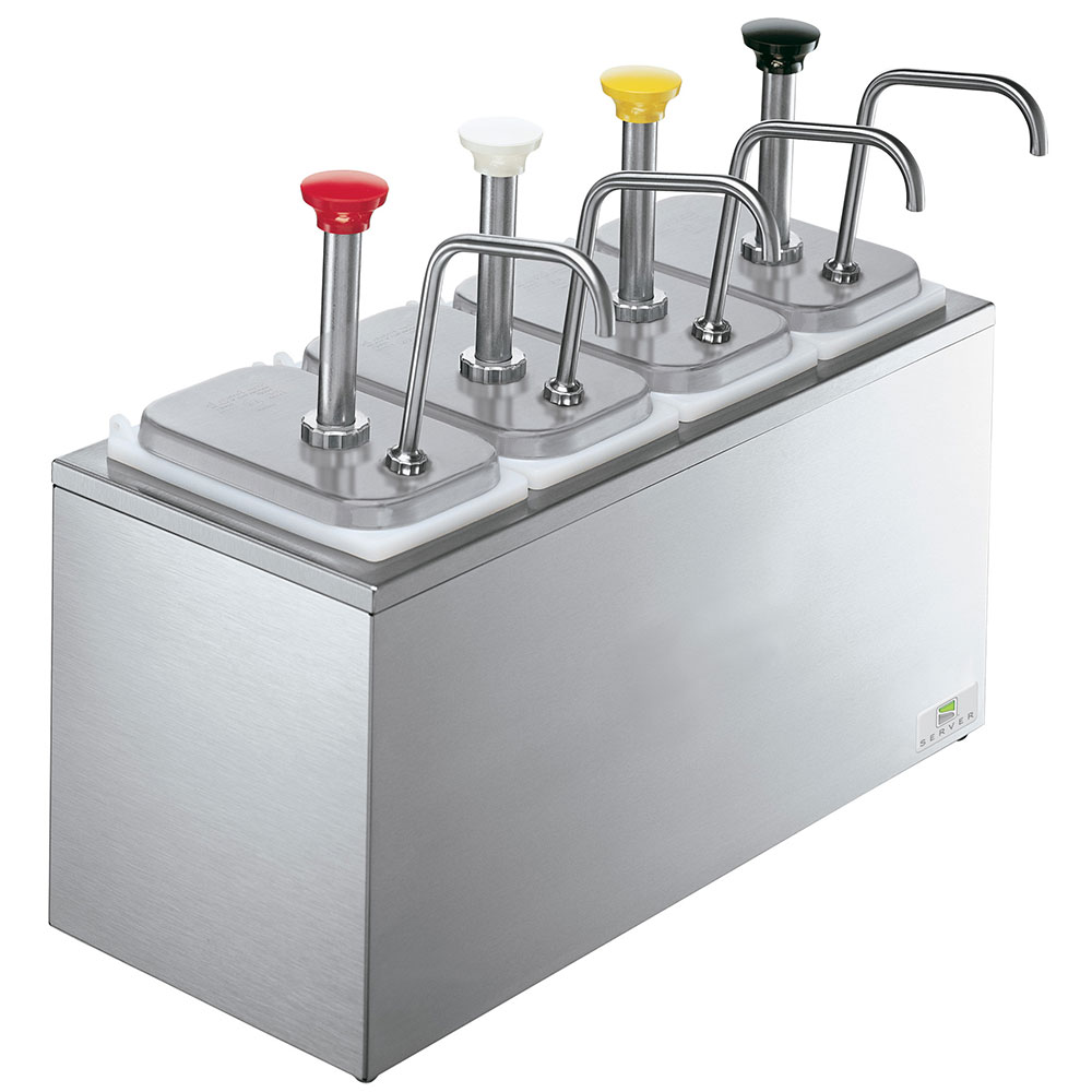 Server Products 83700 Serving Bar, 4 Fountain Jars, 4 Pumps, SS