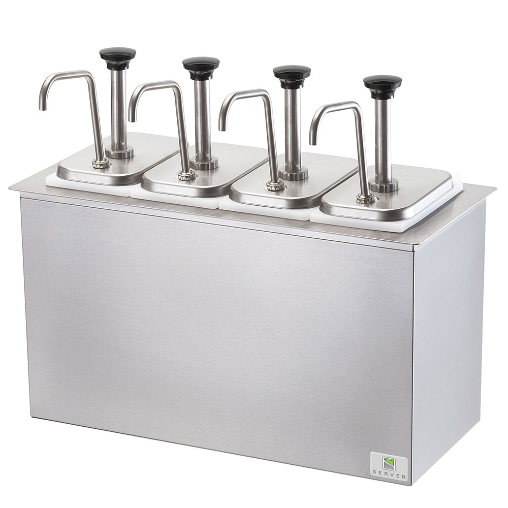 Server Products 83720 Drop-In Serving Bar, 4 Fountain Jars, 4 P