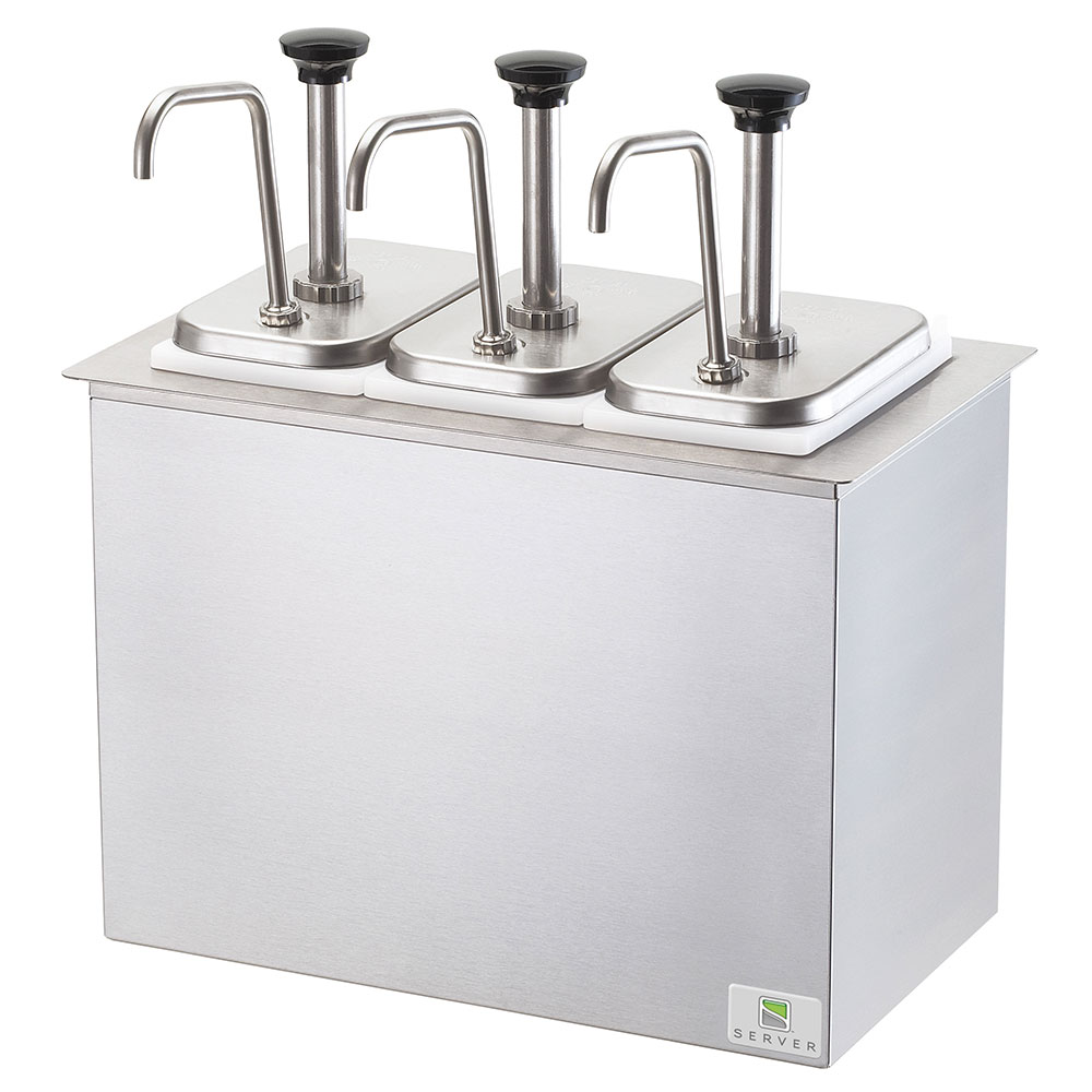 Server Products 83860 Drop-In Serving Bar, 3 Fountain Jars, 3 Pumps, SS