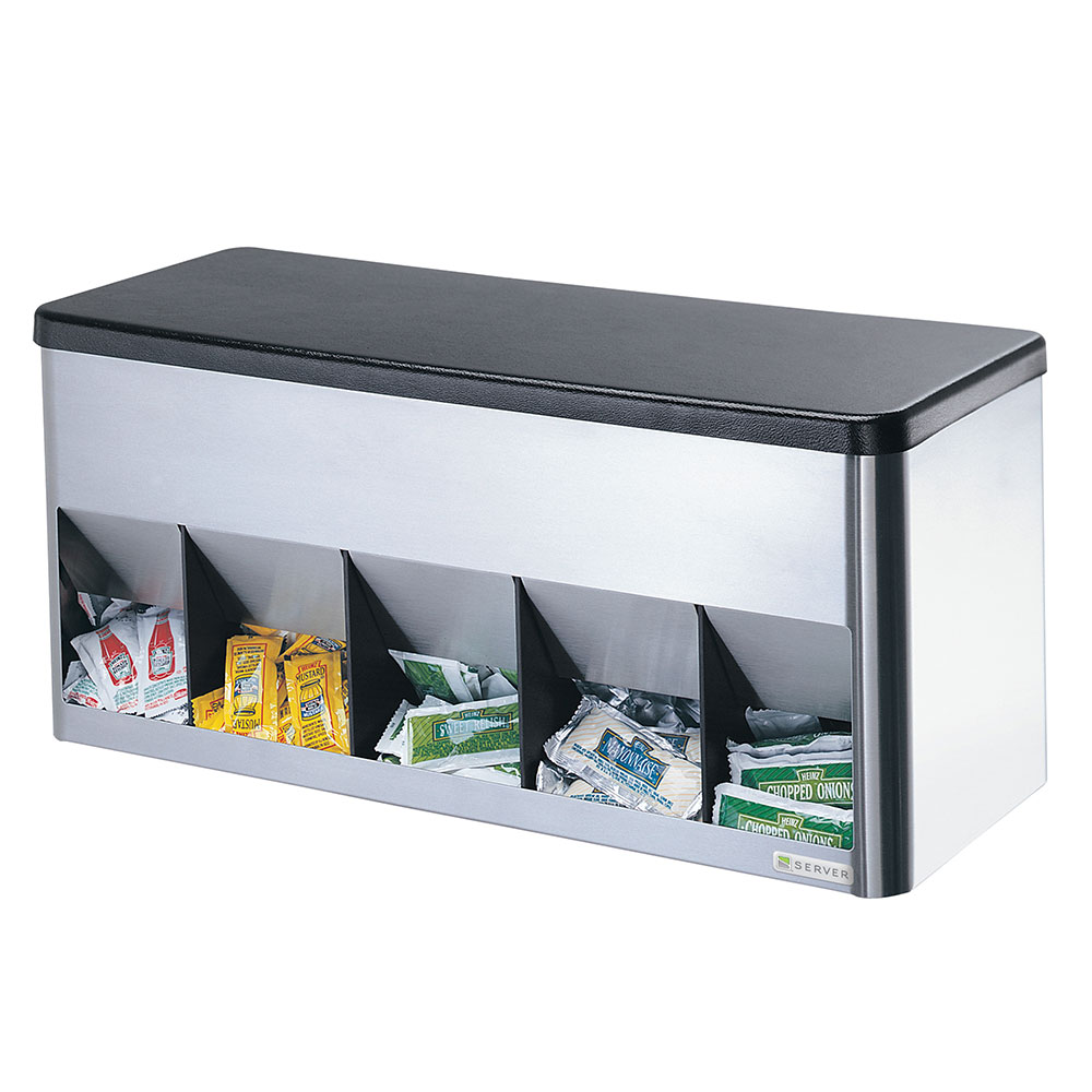 Server Products 85140 Portion Pack Organizer, 5 Compartment, SS & ABS