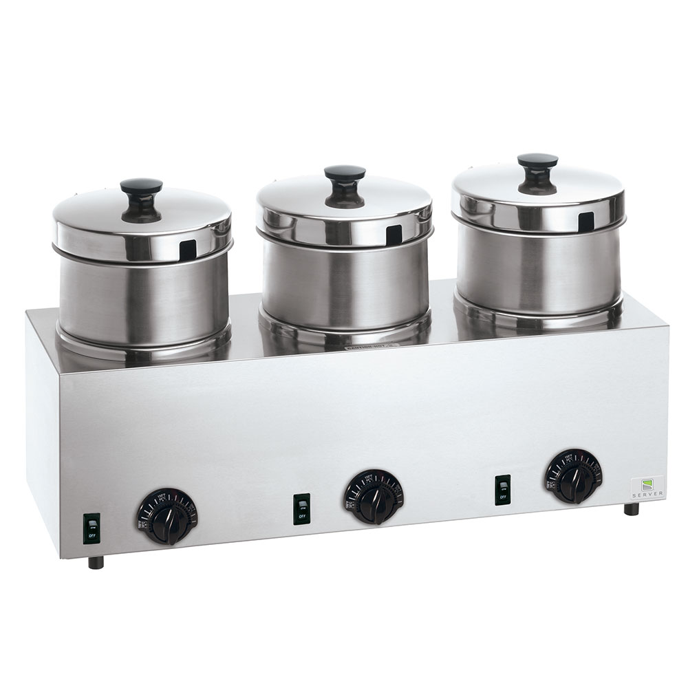 Server Products 85900 Food Server Warmer w/ (3) 4-qt Insets & Lids, 120 V