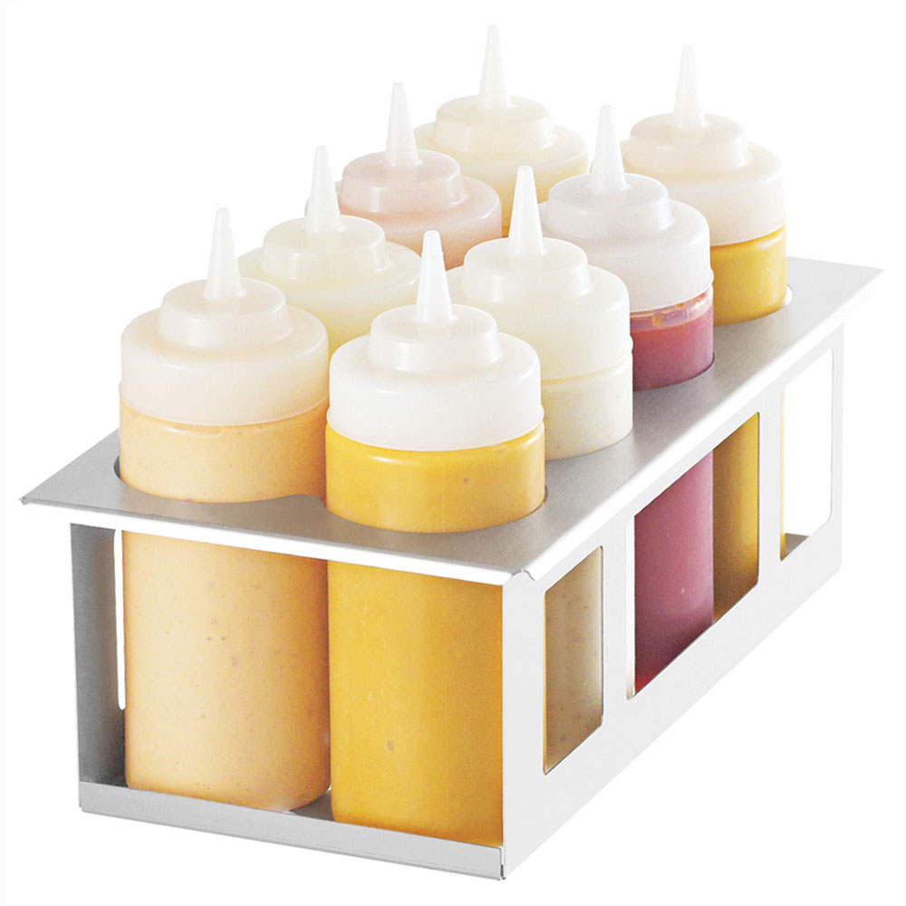 Server Products 86974 Squeeze Bottle Holder w/ (8) 16-oz Bottles