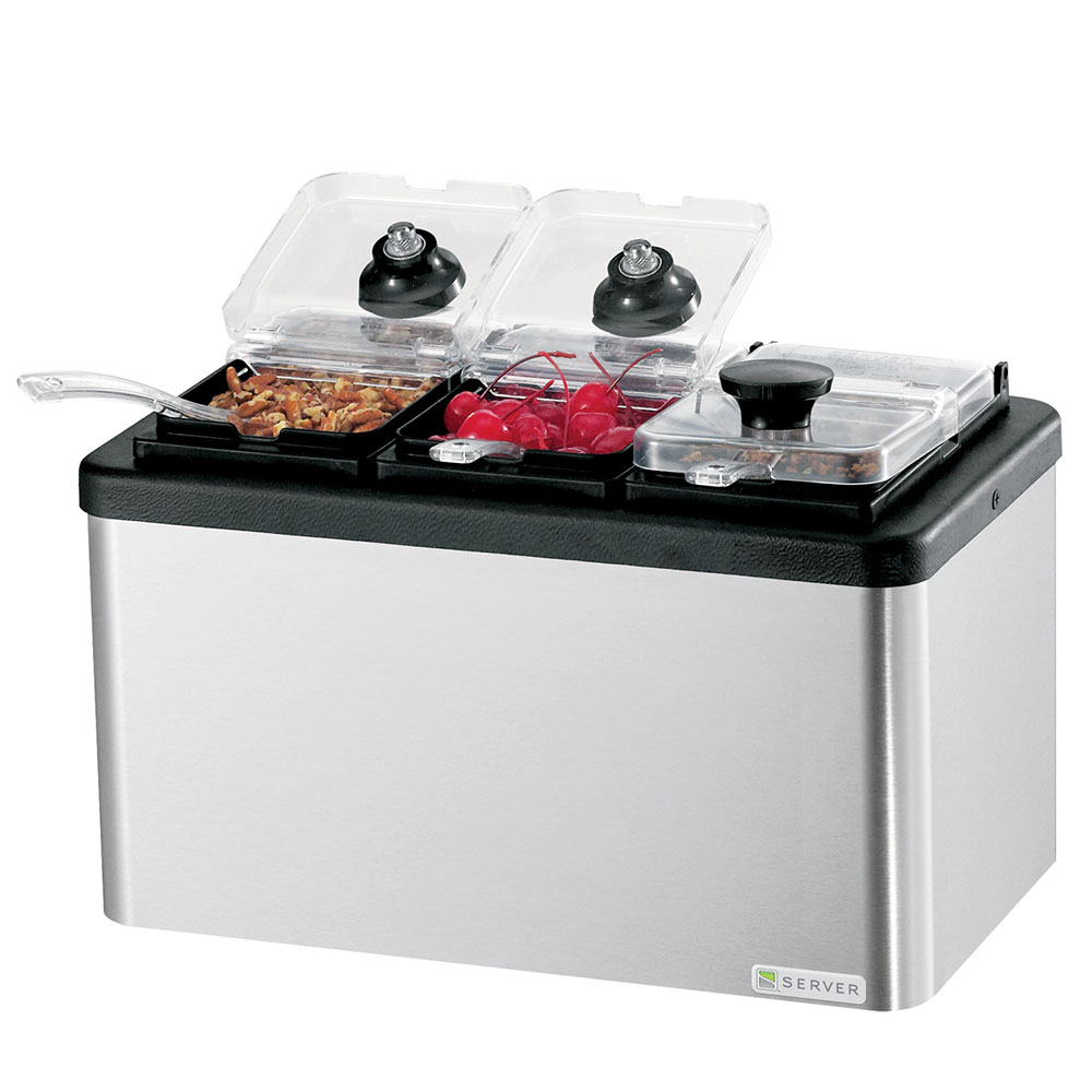 Server Products 87290 Insulated Mini Bar, (3) 1/9-Size Jars 6-in Deep, Lids & Ladles