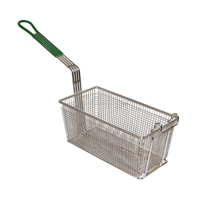 Prince Castle 67614P Front Hook Fry Basket, Nickel Plated Wire Mesh, Black
