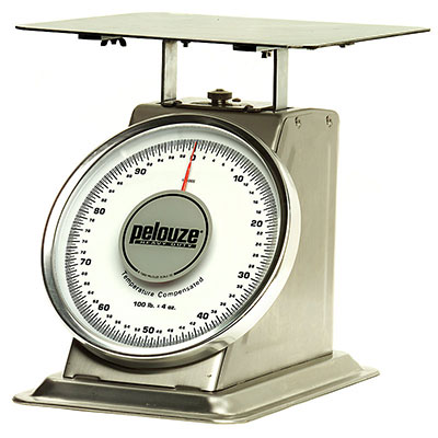 Rubbermaid FG10100 Pelouze Dial Type Receiving Scale - 100-lb x 4-oz, Enamel