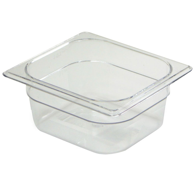 "Rubbermaid FG105P00CLR Cold Food Pan - 1/6 Size, 4"" Deep"