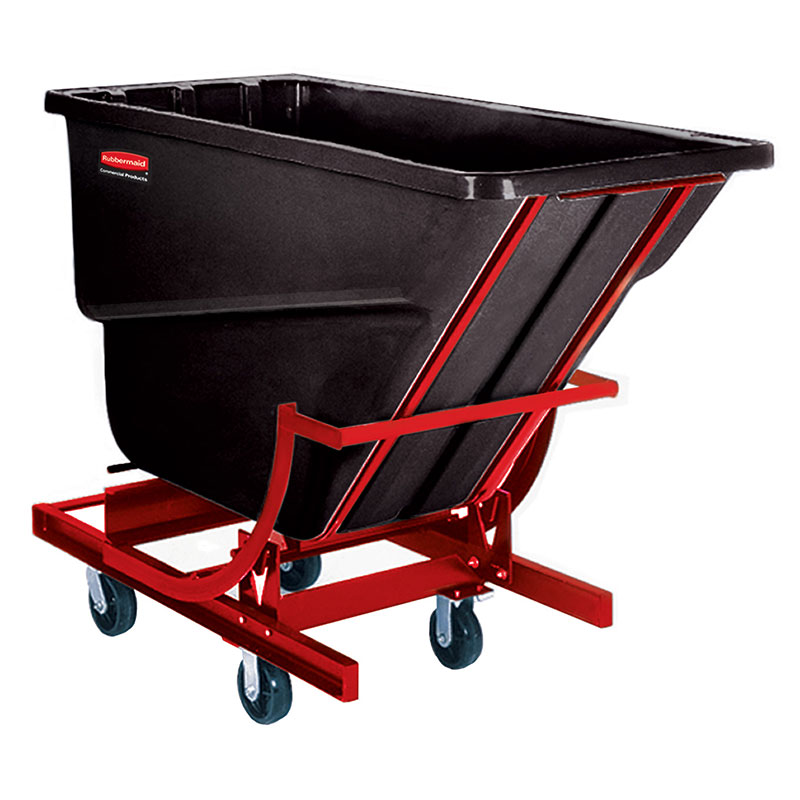 "Rubbermaid FG105943BLA Self-Dumping Hopper - 1000-lb Capacity, 6"" Castors, Black"