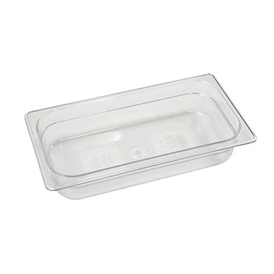 "Rubbermaid FG116P00CLR Cold Food Pan - 1/3 Size, 2-1/2"" Deep"