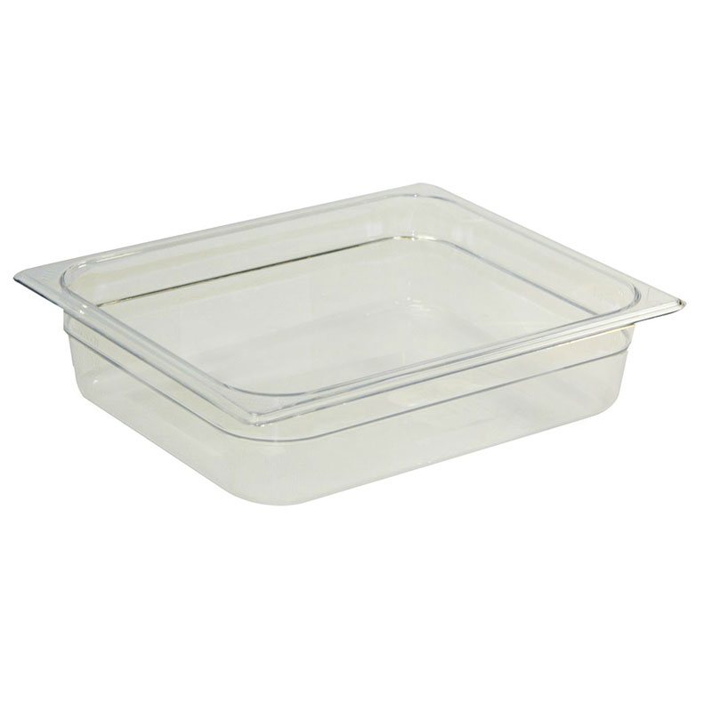 "Rubbermaid FG123P00CLR Cold Food Pan - Half Size, 2-1/2"" Deep, Clear Poly"