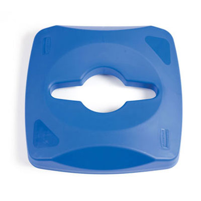Rubbermaid 1788374 Square Single Stream Lid For 23-Gallon Untouchable Container Blue Restaurant Supply