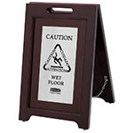 Rubbermaid 1867508 Executive Multi-Lingual Caution Sign - 2-Sided Wood/Silver