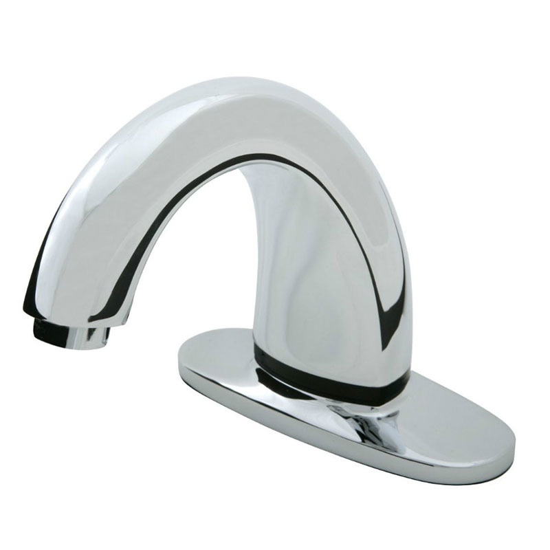 "Rubbermaid 1903283 Deck Mount Auto Faucet - 4"" Centers, Touch Free, Poli"
