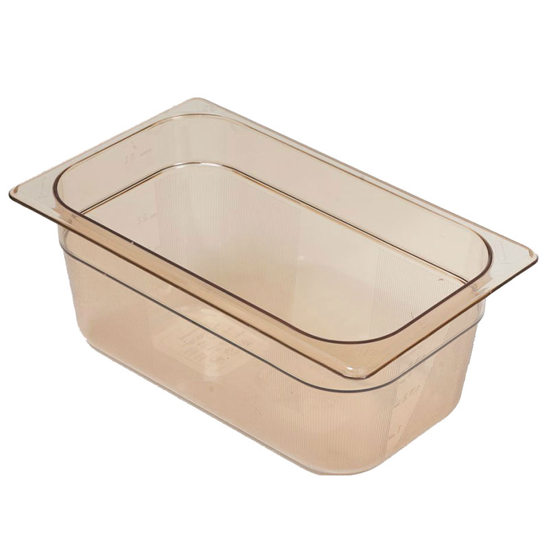"""Rubbermaid FG211P00AMBR Hot Food Pan - 1/4 Size, 4"""" Deep, Poly, Amber"""