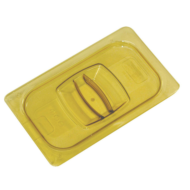 Rubbermaid FG228P86AMBR Hot Food Pan Cover - Notched, Half Size, Amber