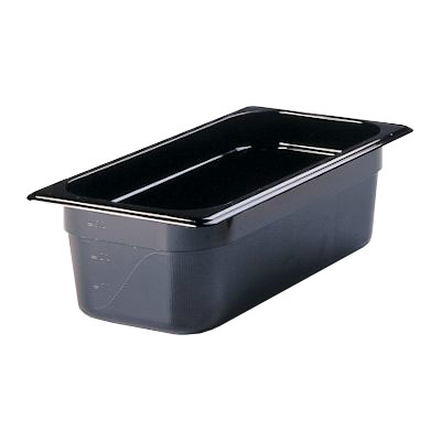 "Rubbermaid FG217P00BLA Hot Food Pan - 1/3 Size, 4"" Deep, Poly, Black"