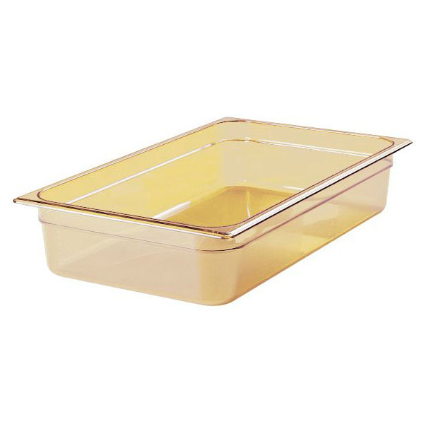 """Rubbermaid FG231P00AMBR Hot Food Pan - Full Size, 4"""" Deep, Poly, Amber"""