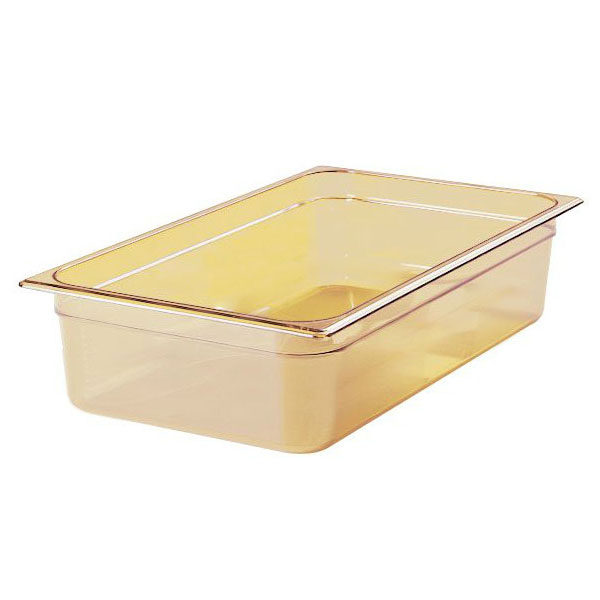 """Rubbermaid FG232P00AMBR Hot Food Pan - Full Size, 6"""" Deep, Poly, Amber"""