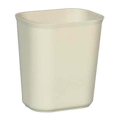 Rubbermaid FG254100BEIG 14 Qt Waste Basket Rounded Corners Fire Resistant Beige Restaurant Supply