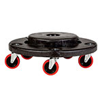 "Rubbermaid FG264043BLA 18-1/4"" BRUTE Dolly - 250-lb Capacity, Red Casters, Black"
