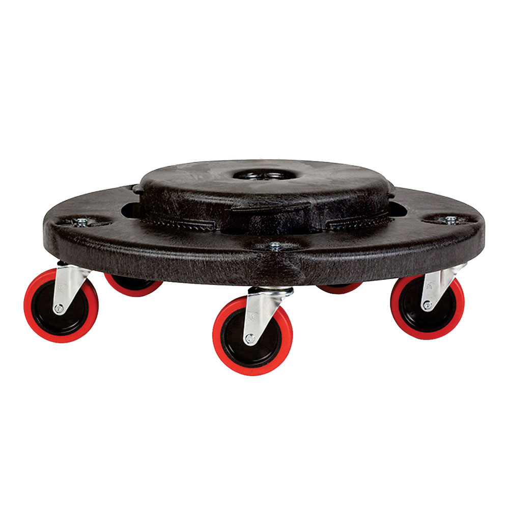 """Rubbermaid FG264043BLA 18-1/4"""" BRUTE Dolly - 250-lb Capacity, Red Casters, Black"""