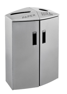 Rubbermaid 3485995 23-gal Recycling Station - Plastic Liner, Paper/Cans, Locking, Silver Metallic