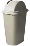 Rubbermaid FG307120BEIG 41-qt Untouchable Top/Soft Wastebasket Combo - Beige