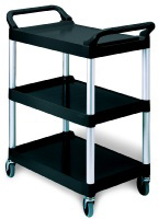 Rubbermaid FG342488BLA 3-Shelf Utility Cart - 33-5/8x18-5/8x36-3/4