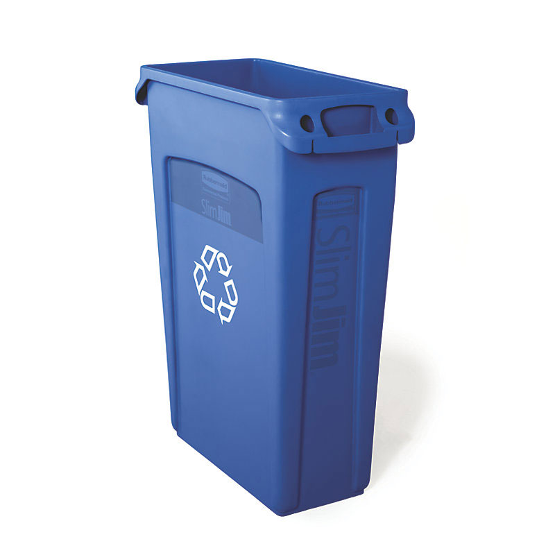 "Rubbermaid FG354007BLUE 23-gal Slim Jim Recycling Container - ""We Recycle"" Symbol, Blue"