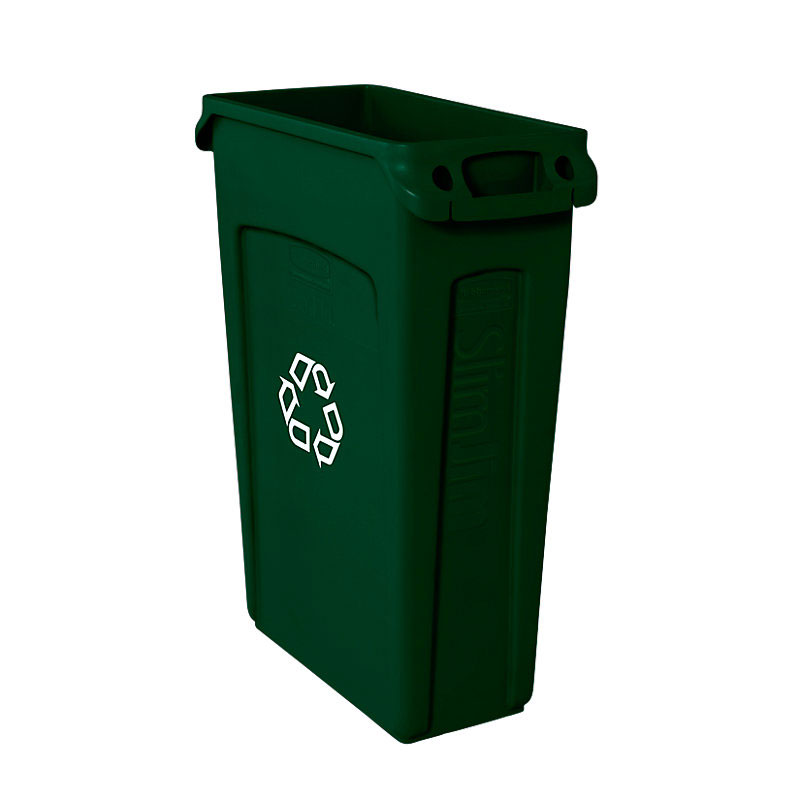 "Rubbermaid FG354007GRN 23-gal Slim Jim Recycling Container - ""We Recycle"" Symbol, Green"