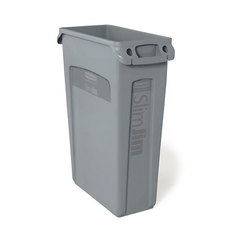 Rubbermaid FG354060GRAY 23-gal Slim Jim Container - Venting Channels, Gray