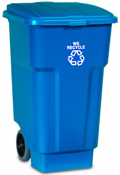 Rubbermaid FG9W2773BLUE 50-gal BRUTE Recycling Rollout Container - Hinged Lid, Blue