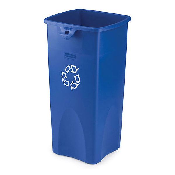 Rubbermaid FG356973BLUE 23-gal Untouchable Square Recycling Container - Blue