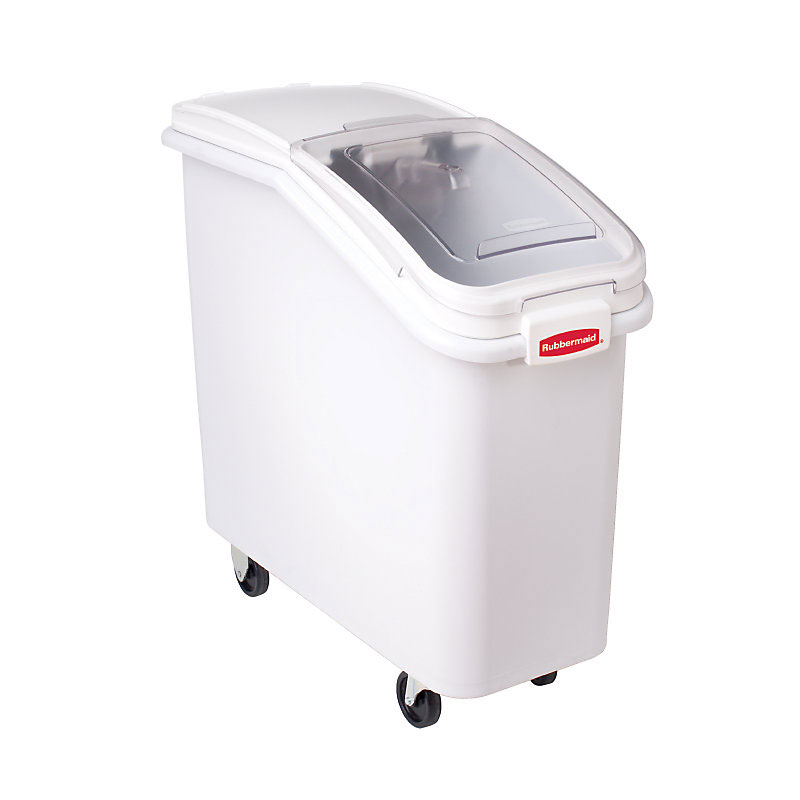 Rubbermaid FG360088WHT ProSave Ingredient Mobile Bin - 2-3/4 cu ft, White Base/Cle