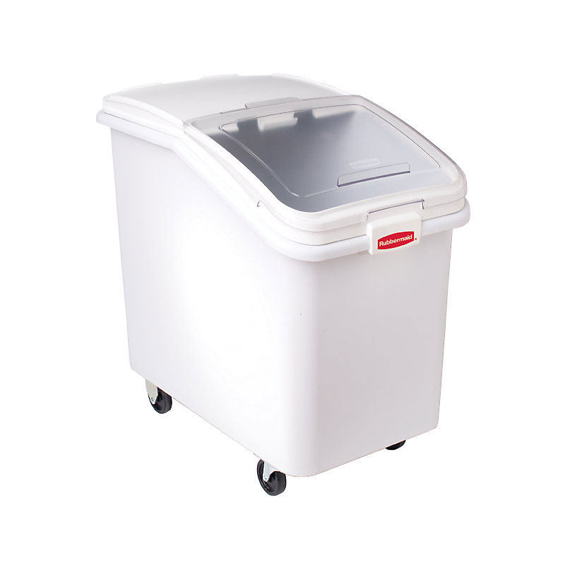 Rubbermaid FG360388WHT ProSave Ingredient Mobile Bin - 4-1/8 cu ft, White Base/Clear Lid