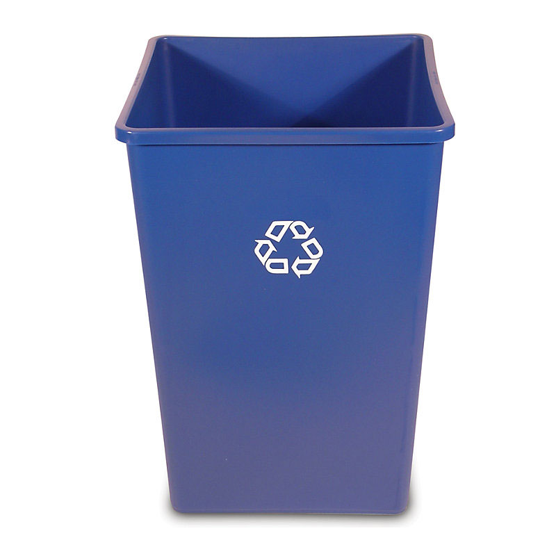 Rubbermaid FG395873BLUE 35-gal Square Recycling Container - Dark Blue