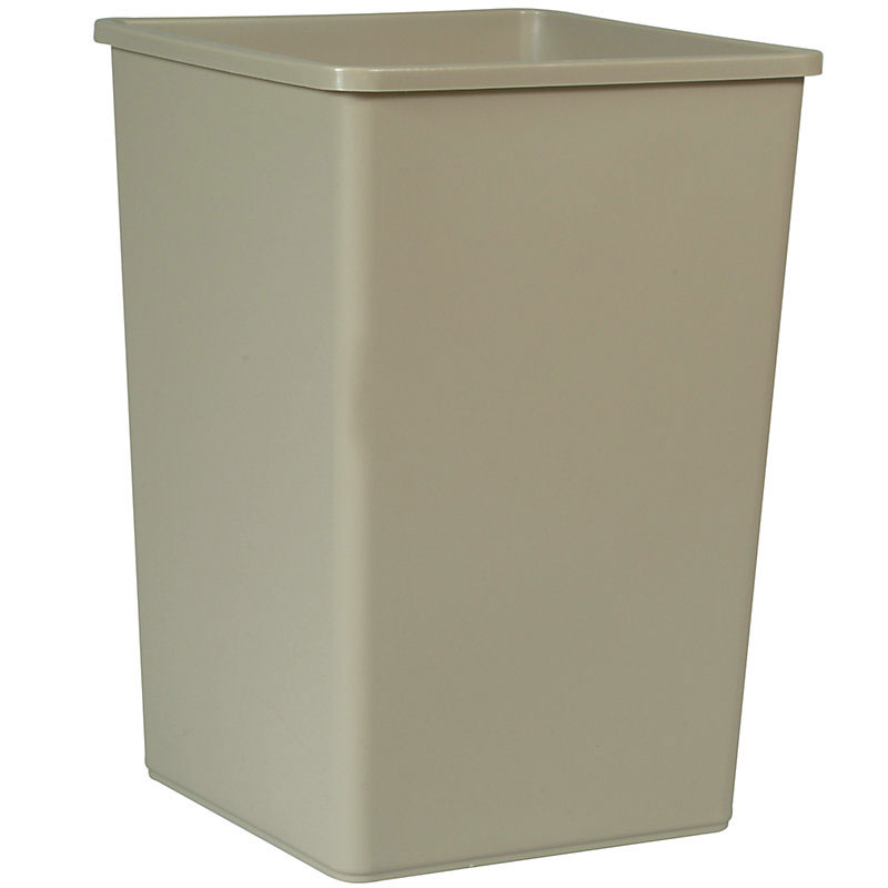 Rubbermaid FG395800BEIG 35-gal Square Untouchable Container - Beige