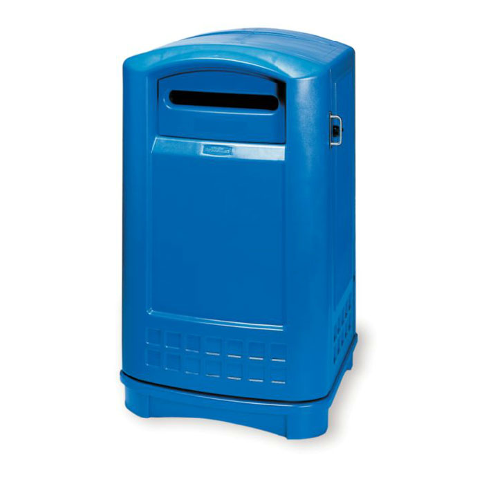 Rubbermaid FG396973BLUE 50-gal Plaza Paper Recycling Container - Blue