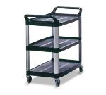 Rubbermaid FG409100BLA 3-Shelf Xtra Utility Cart - 300-lb Capacity, Open Sided, Black