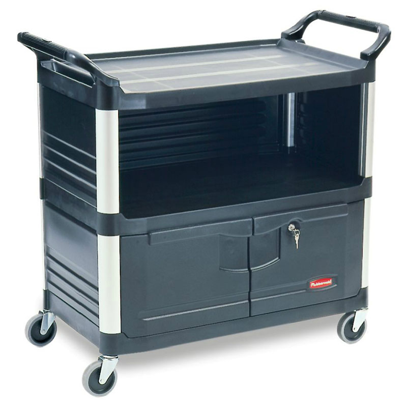 Rubbermaid FG409500BLA 3-Shelf Xtra Equipment Cart - 300-lb Capacity, Black